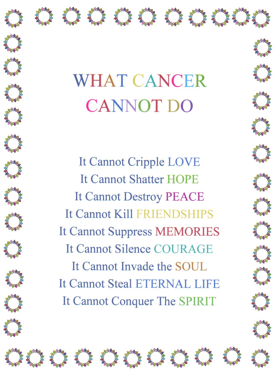 What cancer cannot do what cancer cannot do poem to print view